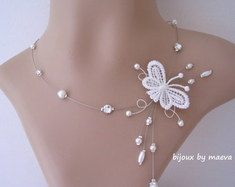 butterfly necklace bridal jewelry and ivory pearls and rhinestones