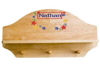 Personalized Stitched Stars Wooden Three Peg Shelf Primary Red Blue Green Star Stars SHEL-nat-225