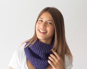 Sales Asymmetric purple neckwarmer knitted collar neckwarmer cowl circle scarf