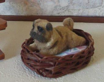 Dollhouse Miniature Pug Dog, 1/12 scale
