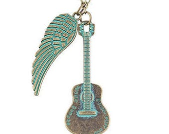 Guitar or Verdigis Clock and Feather Necklace