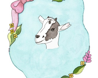 Goat watercolor print, Goat note card set,  baby goat