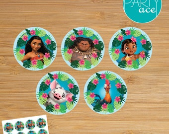 "Moana Printable Cupcake Toppers ""Returns the heart of Te Fiti"" Birthday Party Decoration"