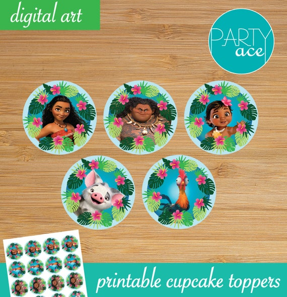 Moana Printable Cupcake Toppers Returns the heart of Te