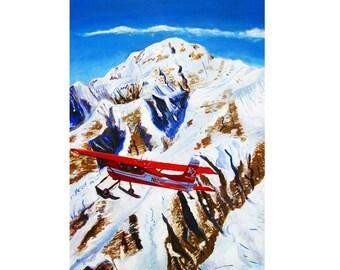 Denali Mountain Painting, K2 Aviation, De Havilland Beaver, Alaska Mountains, Gift for Pilot, Scott Clendaniel, Alaska Aviation, Mt McKinley