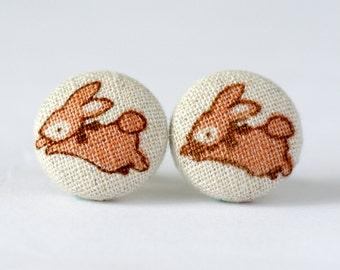 Easter Bunny Covered Button Earrings ~ Rabbit Earrings ~ Girl's Earrings ~ Bunnies Earrings ~ Fabric Button Earrings ~ 15mm (0.59 inch)