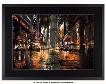 New York - Broadway 42nd Street At Night Poster