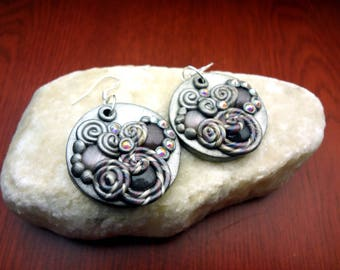 Polymer Clay Applique Statement Earrings