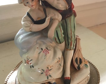 Mid century Porcelain Boudoir Lamp Courting Couple 12""