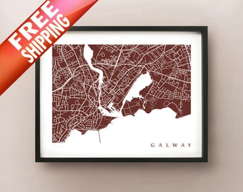 Galway Map Art Print - Ireland Poster - Choose your size and colour