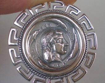 For Sale Artemis Silver X-LargeCoin Pendant with Meander Design-Syracuse Dekadrachm-Diana