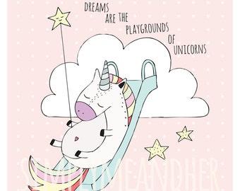 Dreams Are The Playgrounds Of Unicorns Print. Kids wall art. Nursery Decor