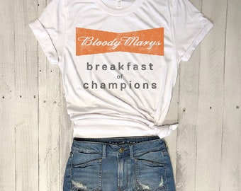 Bloody Marys...Retro White Triblend Tee, Graphic Tee, Funny Shirt, Brunch, Vintage Tee, 80s, UNISEX