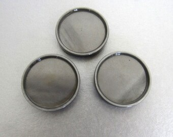 3 Large Pearly Grey Vintage Buttons