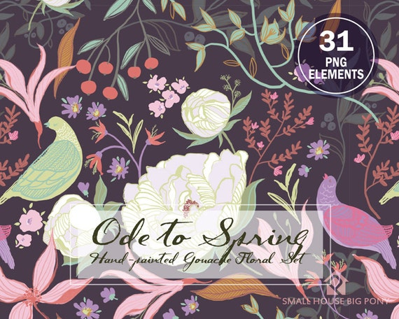 Watercolour Flower Clip Art Collection - Hand Painted Graphics, hand drawn clip art,  flower clip art - Ode To Spring - 31 PNG Elements