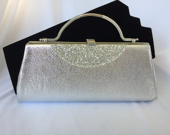 Vintage, Metallic Silver and Glitter Clutch. Metal, hide-a-way handle.