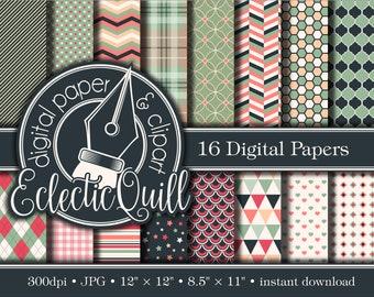 Pink and Green Digital Paper | Pink and Green Scrapbook Paper | Geometric Patterns | Patterned PinkPaper Pack | Feminine Printable Paper