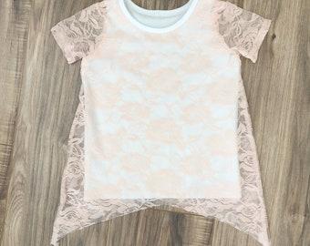 Blush lace t shirt
