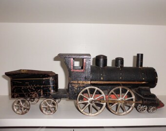 Antique Toy Train Engine with Tender
