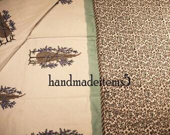 Indian Block Print Cotton Blanket,Reversible Cotton Double Bed Blanket,Floral Print Cotton Jaipuri Blanket,Summer Blanket,Wedding Blanket