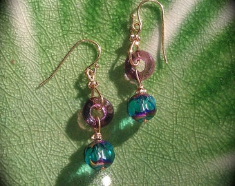 Sparkling Teal and Purple Earrings blue green and purple glass dangle earrings