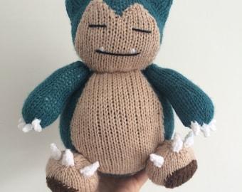 Snorlax pokemon knitting pattern plushie toy childrens soft toy amigurumi knit knitted pdf download