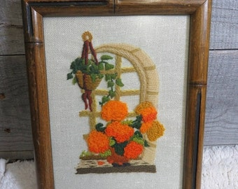CLEARANCE Vintage Boho Crewel Embroidered Floral Hanging House Plant 1970's Framed Art Decor Bohemian Gypsy Retro Hippie