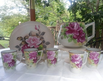 Stunning Antique,  Nippon Lemonade Set, Pink Roses, Hand Painted Pink Roses, marked  NIPPON, 9 Pieces