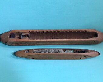 Two Vintage Weaving Shuttles - One Very Large Marked R. Halstead and Son Rochdale