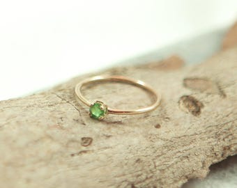Dainty Emerald Ring with 14kt Gold Band