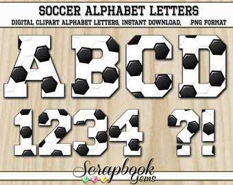 Sports Soccer Letters & Numbers Clipart, 40 High Quality PNG files, Instant Download Digital Clip Art