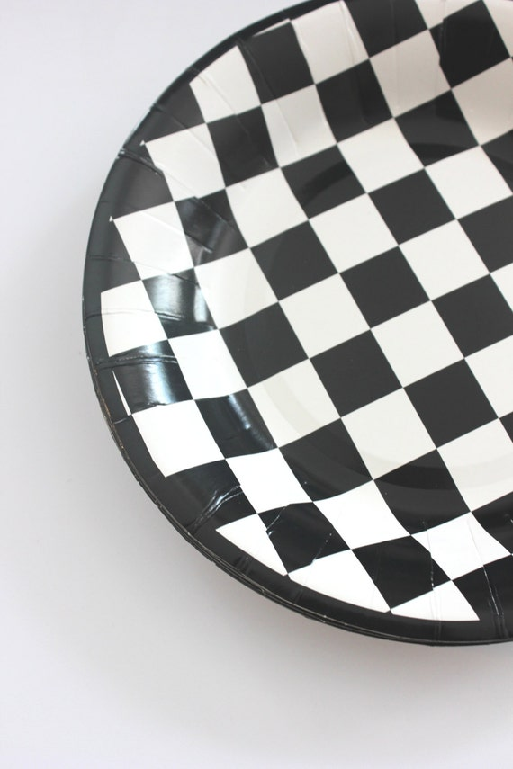 16 BLACK And WHITE CHECKERED Paper Plates Cars Racecar Checkers Alice Wonderland Wedding Bridal Shower Birthday Party Dessert Picnic Chess  sc 1 st  Etsy & 16 BLACK And WHITE CHECKERED Paper Plates Cars Racecar