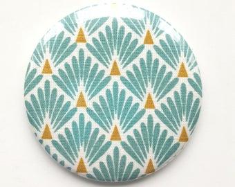 Pattern 75 mm Pocket mirror Japanese turquoise fan, creating MLP Pocket mirror