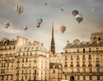 Paris Photography, Hot Air Balloons Photo, Romantic Wall Art Dreamy France Print Beige Neutral Colors par22b