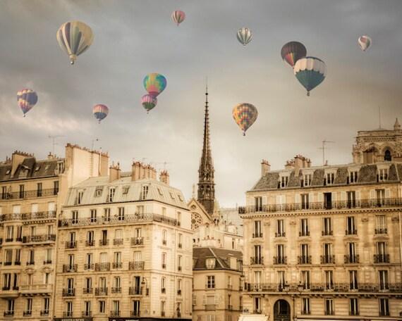 Paris Photography Hot Air Balloons Photo Romantic Wall Art