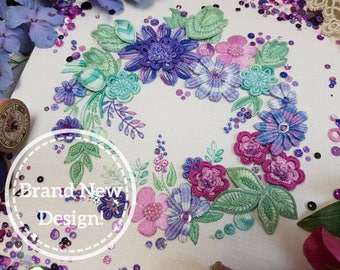 Flower Festival (Mauves) : Stunning Stumpwork Embroidery Kit By Maggie Gee Needlework *NEW*