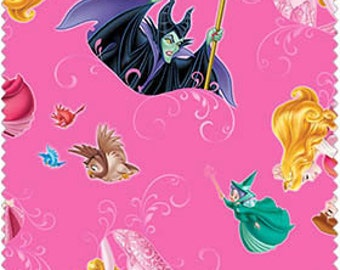Disney Sleeping Beauty and Maleficent, Character toss on hot pink, 1 yard