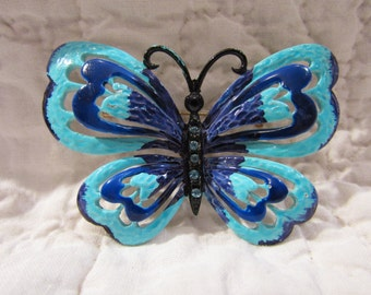 Vintage Butterfly Brooch with Rhinestones SALE