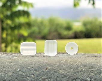 Perles baril nugget cultured sea glass, perles verre recyclé, cristal, 10X8 mm, 17 pcs