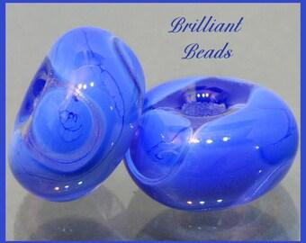 Periwinkle Blue Swirls....Handmade Lampwork Glass Bead Pair SRA, Made To Order