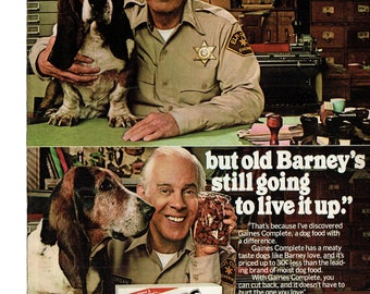 1980 Advertisement Harry Morgan Gaines Complete Burgers Dog Food 80s Celebrity Basset Hound Barney Sheriff Elm County Wall Art Decor