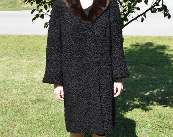 1950s 60s Vintage Persian Lamb Coat Mink Collar by Arnold Constable Size Medium