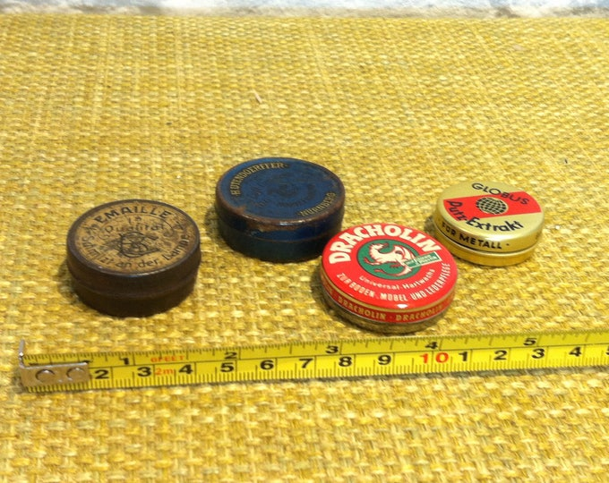 Vintage Rare small tin cans with old advertisement