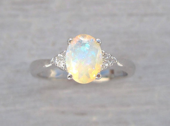 ethiopian opal petite halo fire diamond ring gold in rings engagement rose promise