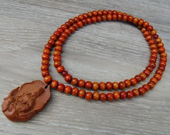 Buddha Necklace,Wooden Pendant,Buddhist Necklace,Wood Necklace,Spirituality,108 Mala,Prayer,Men,Woman,Yoga Necklace,Protection,Meditation