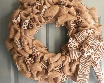 Burlap Wreath with Animal Print Burlap Ribbons - 24'' Extra Large