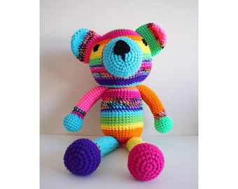 Large Crochet Rainbow Teddy Bear