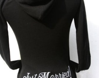 Just Married Embroidered Thermal Hoodie