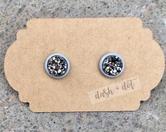 8mm Gunmetal Druzy Earring / Surgical Steel Earrings / Faux Druzy Earrings / Stud Earrings / Rose Gold Earrings / Childrens Earrings