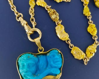 Turquoise Figural 3D Fragment set in 18k Gold